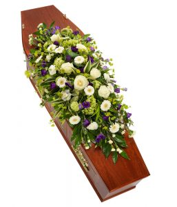 Purple White Casket Spray from Every Bloomin Thing Flowers Glasgow