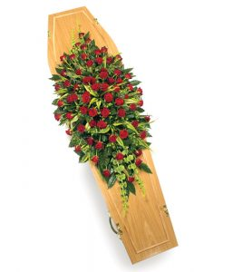 Red Rose Casket Spray from Every Bloomin Thing Flowers Glasgow