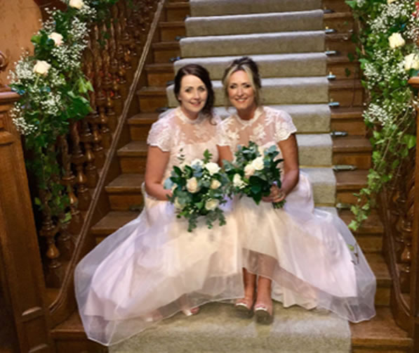 Bridesmaids on Staircase from Every Bloomin Thing Flowers Glasgow